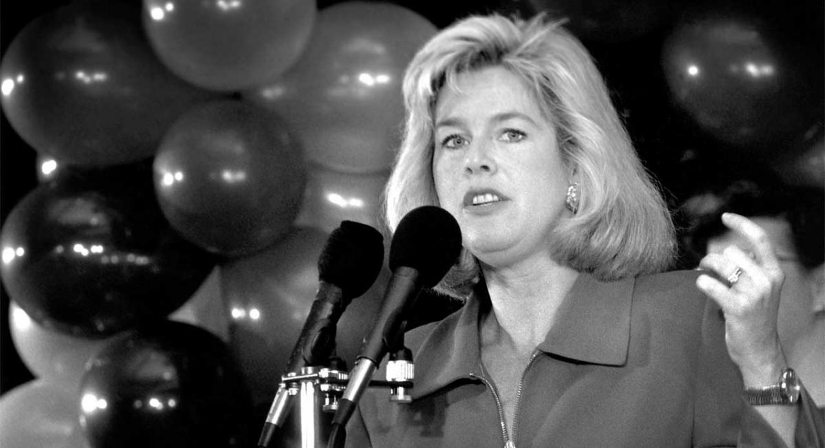Tipper Gore Speaking from behind a podium