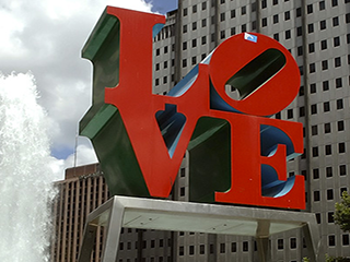 iconic LOVE art work statue in the center of Philadelphia city park