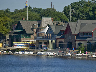 Picture of rowing boathouse across the river in philadelphia