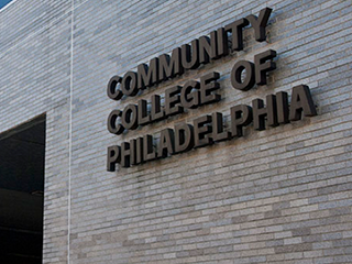 Community College of Philadelphai Sign on outside of building