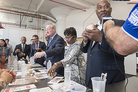 From the right: U.S. Rep. Dwight Evans, Nicole Pullen Ross, Mayor Jim Kenney; Harold Epps, director of Commerce for the City of Philadelphia; Richard Olaya (Goldman Sachs graduate), and CCP president Dr. Donald Guy Generals. photo credit: Philadelphia Sun