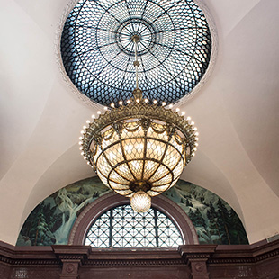large lamp fixture in the rotunda