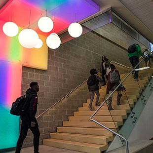 stairs in the west building with students