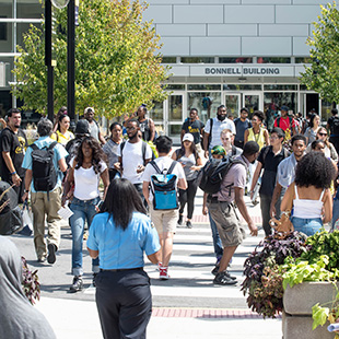 Students crossing 17th street on a sunny day