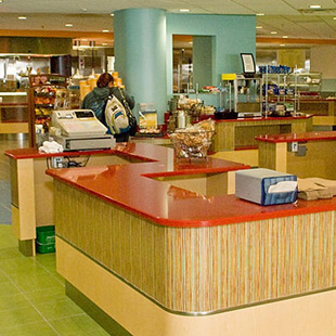 looking into the food service area of the cafeteria