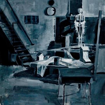"Ana Cho Interior, 2005 Acrylic on paper — 42""H x 32""W - Founder's Award Student Purchase"