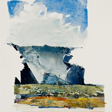"Bruce McGrew Canyon Light, 1978 Watercolor — 9""H x 7""W Gift of Rosina Feldman"