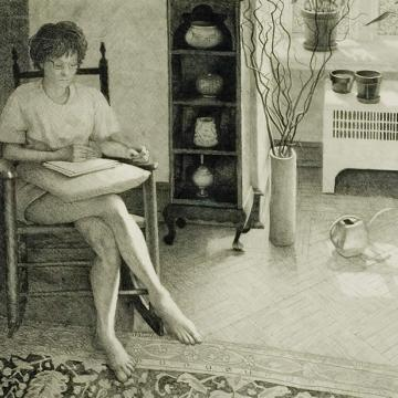 "Bob Paige Simone in the Living Room, 2001 Graphite on paper — 27""H x 35""W"