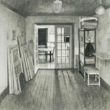 "Christopher Feiro Studio Interior and Kitchen, 2005 Graphite — 29""H x 23""W"