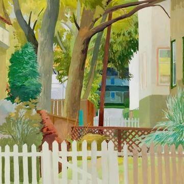 Celia Reisman Front Fence with Dark House, 1999 Gouache on paper — 24H x 18;W
