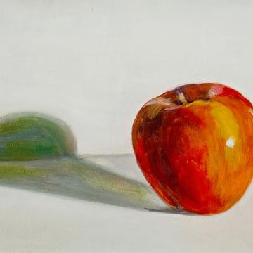 "Ethel Bellows Apple, 2002 Oil on paper — 9""H x 12""W Library"