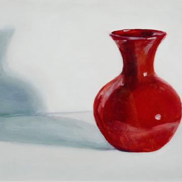 "Ethel Bellows Vase, 2002 Oil on paper — 9""H x 12""W Library"