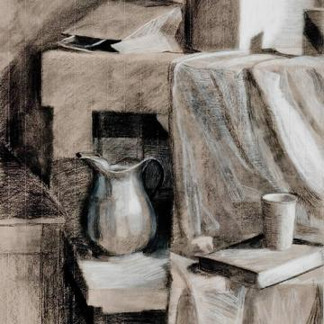 "Elizabeth Heller Still Life, 2001 Charcoal on Paper — 24""H x 18""W Founder's Award Student Purchase"