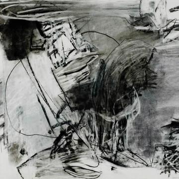 "Jan Baltzell 98 C-1, 2001 Charcoal and pastel on paper — 30""H x 44""W"