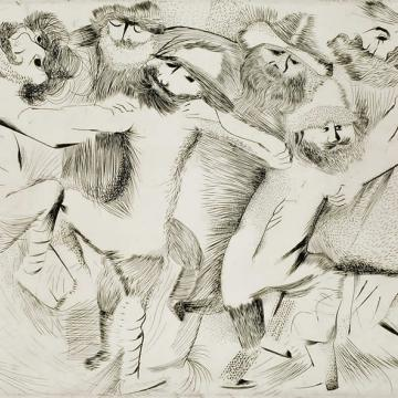 "Jerome Kaplan Wedding Dance, 1957 Intaglio — 14""H x 20""W Gift of M. Lindsay Kaplan and Norman Eisen"