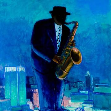 "John Opie Coleman Hawkins, Tenor Giant, 2001 Oil on canvas — 50""H x 46""W"