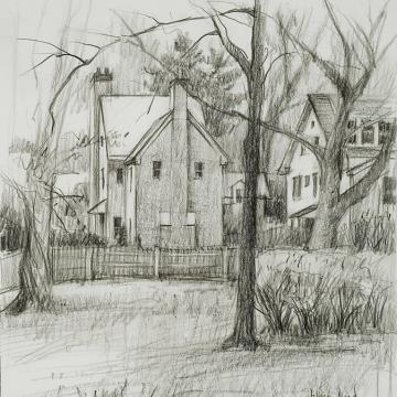 Jeffrey Reed Backyard, 2002 Graphite — 9.5H x 9W Gift of the artist