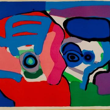 "Karel Appel Untitled, 1971 Silk screen — 26""H x 40""W Gift of Jack Muraskin and Annette Leavy"
