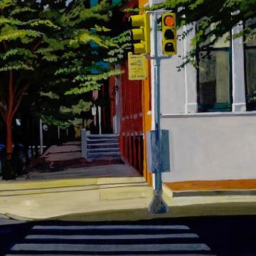 "Larry Francis Eleventh and Spruce, 2001 Gouache on paper — 11""H x 13""W"