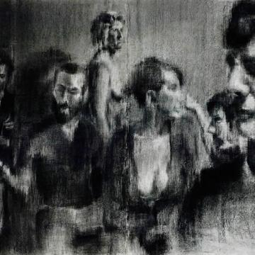 "Oscar Kalinowski A Nickle a Dozen, 2010 Charcoal on paper — 30""H x 45""W Founder's Award Student Purchase"