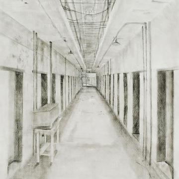 "Sean Sauer Eastern Penitentiary, Cellblock 12, 2006 Graphite — 30""H x 22""W"