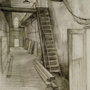"Vasily Davydov Penitentiary, 2003 Graphite — 31""H x 23""W Founder's Award Student Purchase"
