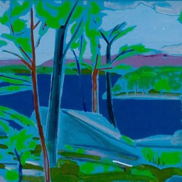 "Valerie Seligsohn Hemlock, Early Spring, 2002 Acrylic on canvas — 15""H x 36""W"