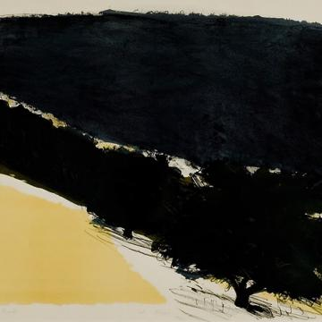 "Wolf Kahn Untitled Landscape, 1969 Lithograph — 22""H x 20""W Gift of Marilyn Arnold Palley and Reese Palley"