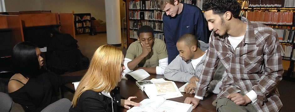 students in Library studying together