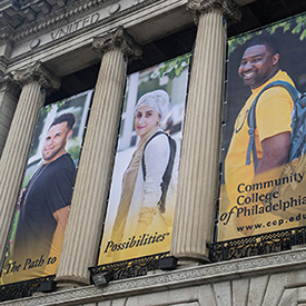 Banners on the outside of the Mint building