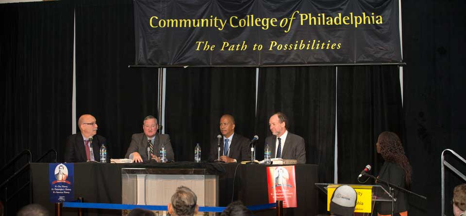 On Oct. 11, Mayor Kenney (second from left) and Dr. Generals (second from right) joined a panel examining the life of Octavius V. Catto, a voting rights activist who was 32 years old when he was murdered on election day in 1871. Authors Dan Biddle and Murray Dubin moderated.