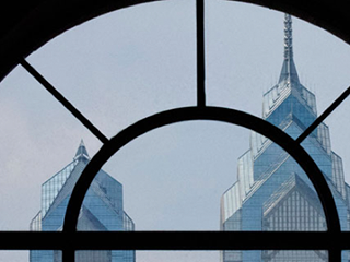 window looking out at center city