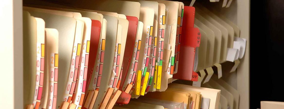Health care files in office at Community College of Philadelphia.