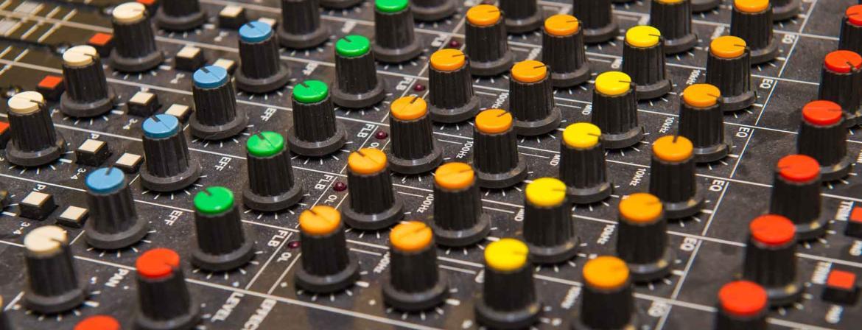 Sound board in class at Community College of Philadelphia.