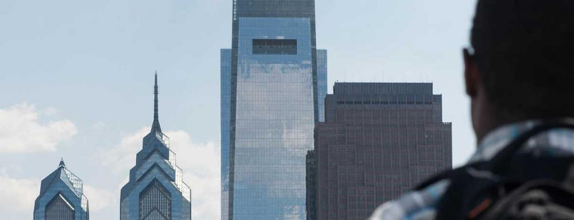 Philadelphia skyline from Community College of Philadelphia.