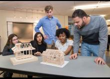 Student working on their design models in CCP class about architecture.