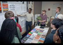 Students discussing Art and Design work in CCP class.