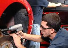 CCP student working on automobile in Automotive Service class.
