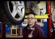 Automotive Technology student working on car repair at CCP.