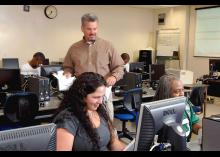 Student learning about digital forensics in classroom at CCP.