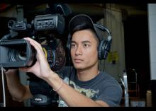 Student filming in Digital Video Production program at CCP.