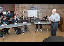 Students learning about fire science in classroom at Community College of Philadelphia.
