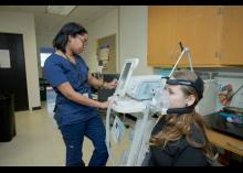 CCP student treating patient in Respiratory Care Technology class.