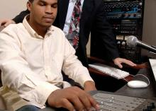 Student using sound technology at Community College of Philadelphia.