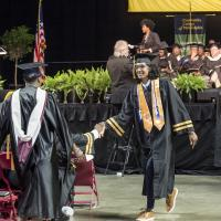Jamail Kahn graduates from Community College of Philadelphia with an Associate Degree in Liberal Arts.