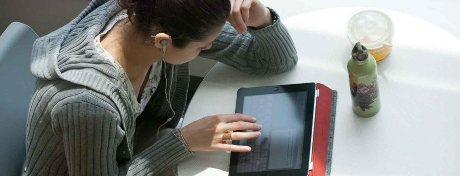 Student working on tablet computer at Community College of Philadelphia.
