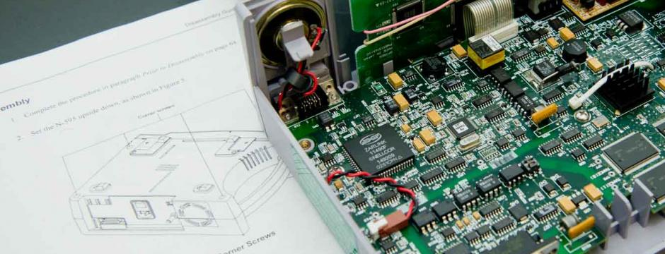 An opened testing device in a CCP classroom.
