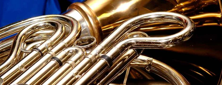 Brass horn in classroom at Community College of Philadelphia.