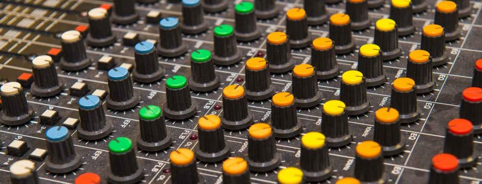 Sound board in class at Community College of Philadelphia.