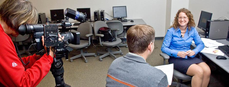 Student working with digital video camera at CCP.